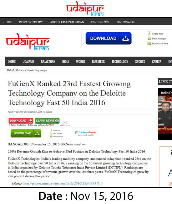 FuGenX-Wins-23rd-fastest-growing-technology-award-udaipur-kiran